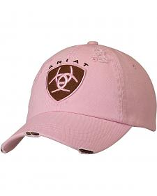 Ariat Pink and Brown Logo Patch Ballcap