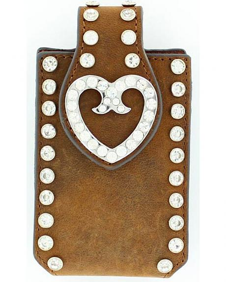 M&F Western Clip-On Rhinestone Heart Embellished iPhone 4 Case