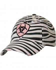 Ariat Women's Zebra Print and Pink Logo Ballcap