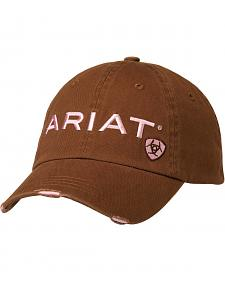 Ariat Brown and Pink Embroidered Logo Ballcap