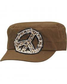 Blazin Roxx Bedecked Leopard Print Peace Sign Patch Cap