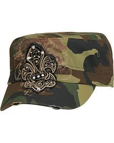 Blazin Roxx Army Camo Fleur-de-lis Patch Cap
