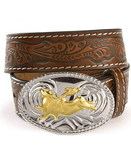 Nocona Children's Floral Leather Belt - 18-28