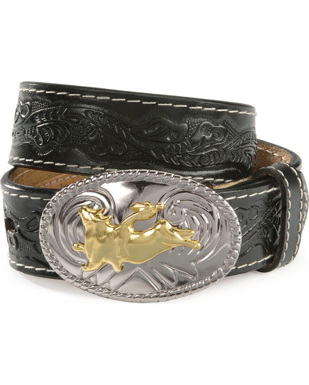 nocona boys floral leather belt n44104 02