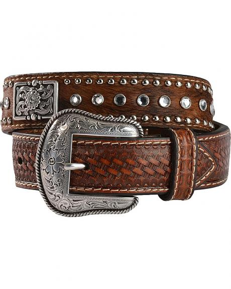Nocona Kids' Rhinestone Hair-On-Hide Leather Belt - 18-28