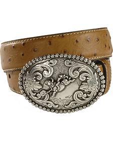 Nocona Children's Ostrich Print Leather Belt - 18-26