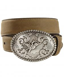 Nocona Children's Bull Rider Buckle Distressed Leather Belt - 18-26