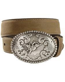 Nocona Children's Bull Rider Buckle Distressed Leather Belt - 18-26