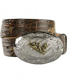 Nocona Kids' Bucking Bull Embossed Leather Belt - 18-26