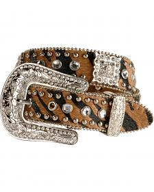 Nocona Girls' Animal Print Hair-on-Hide Leather Belt - 18-26