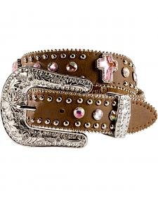 Nocona Girls Rhinestone Cross Leather Belt - 18-26