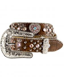 Nocona Girls' Heart Concho Croc Print Leather Belt - 18-26