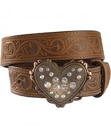 Heart Buckle Tooled Leather Belt - 18-28