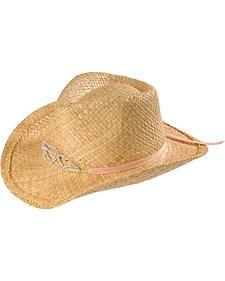 Girls' Rhinestone Hearts Tiara Raffia Cowboy Hat