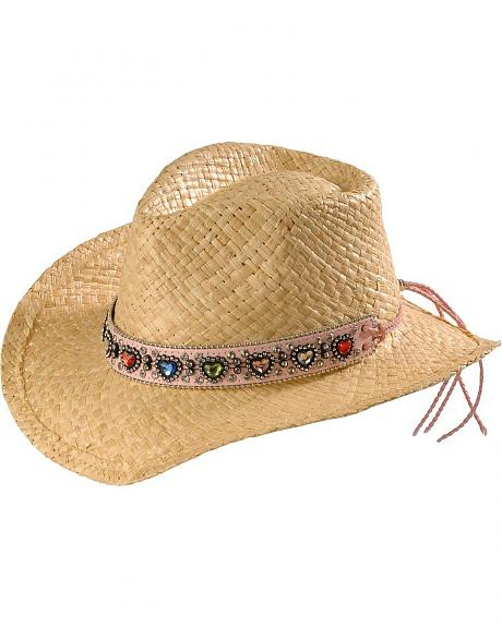 Girls' Rhinestone Heart Band Raffia Cowgirl Hat