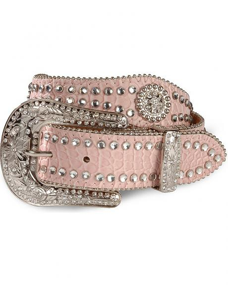 Nocona Pink Scalloped Concho Belt - 18-28