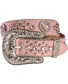 Nocona Pink Heart Concho Belt - 18-28