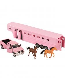 Girls Pink Dodge Truck & Horse Trailer Toy Set