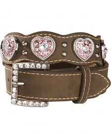 Nocona Girls' Pink Rhinestone Heart Belt - 18-28