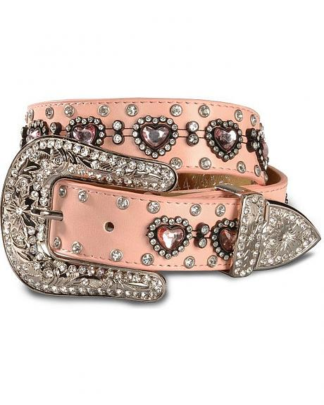 Nocona Girls' Heart Rhinestone Leather Belt - 18-28