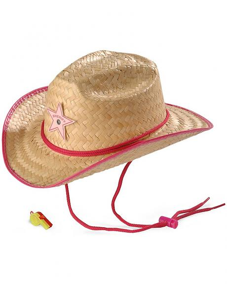 Children's Rodeo Party Sheriff Straw Cowboy Hat & Whistle