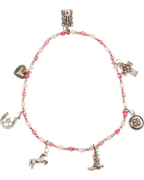 Girls' Silver-Tone Western Charm Necklace