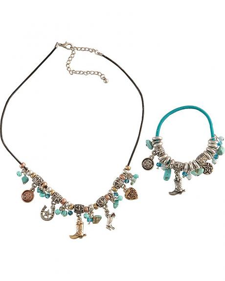 Western Charm Bracelet & Necklace Set