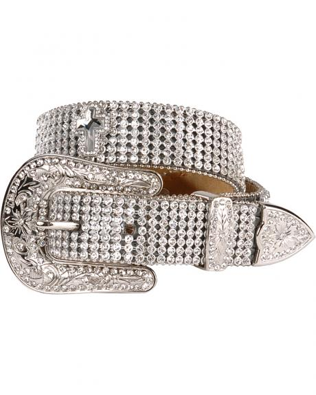 Nocona Girls' Rhinestone Cross Buckle Belt - 18-28