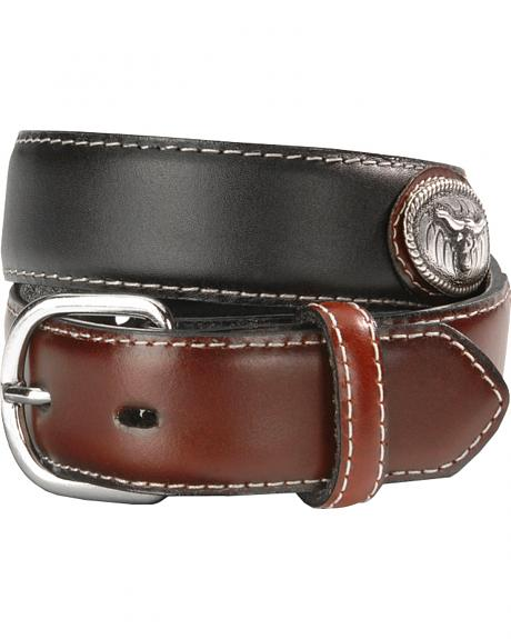 Nocona Boys' Steer Head Concho Leather Belt - 18-28