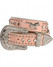 Nocona Girls' Pink Rhinestone Running Horse Concho Leather Belt - 18-28