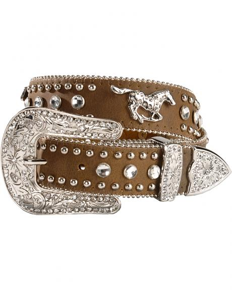 Nocona Girls' Brown Rhinestone Leather Belt - 18-28
