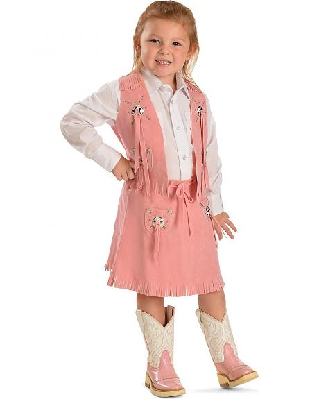 Girls' Pink Faux Suede Vest and Skirt Set