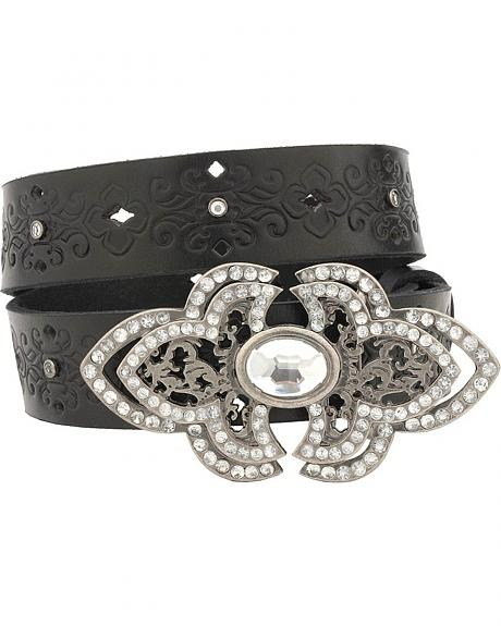 Miss Me Girls' Rhinestone Buckle Belt