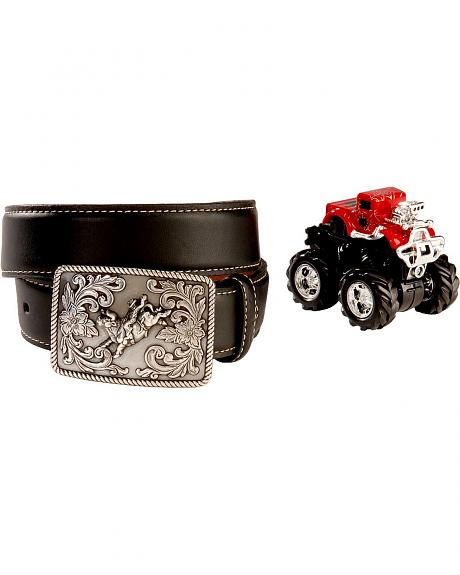 Nocona Black Leather Belt with Monster Truck Toy