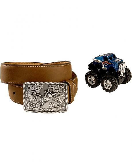 Nocona Brown Leather Belt w/ Monster Truck Toy