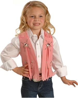 Pink Faux Suede Cowgirl Vest
