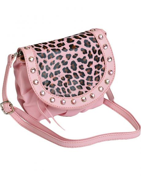 Girls' Pink Leopard Print Purse