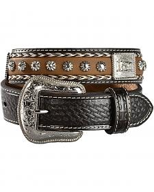 M & F Western Boys' Braided Hair-on-Hide Cowboy & Cross Concho Leather Belt