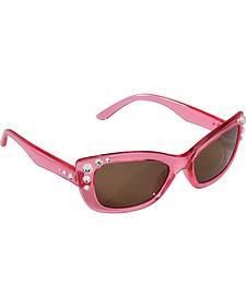 Blazin Roxx Girls' Pink Rhinestone Sunglasses