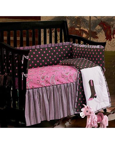 HiEnd Accents Pink Paisley Crib Set Western & Country CS0002