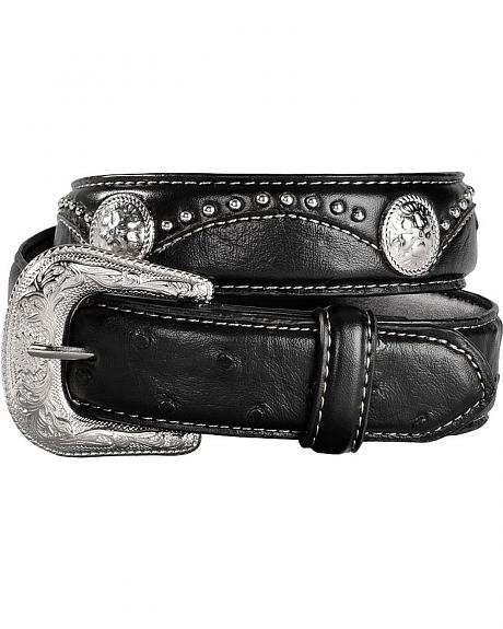 Rogers Whitley Kids' Ostrich Print Leather Belt