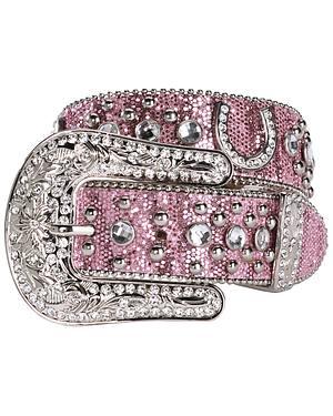 Nocona Pink Glittery Horseshoe Concho Western Belt