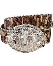 Nocona Glittery Leopard Print Cross Concho Buckle Belt