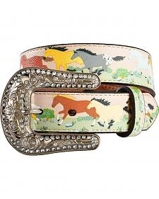 Nocona Girls' Running Horse Print Belt - 20-28