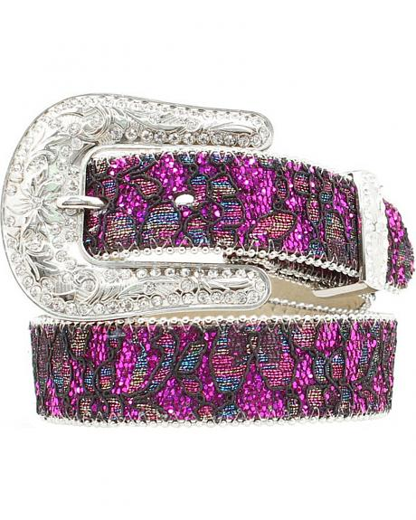 Nocona Girls' Floral Lace Sparkling Belt - 20-28