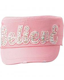 Girls' Pink Believe Military Style Cap