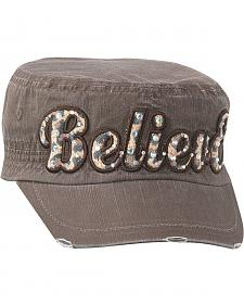 Youth Believe Embellished Military Style Cap