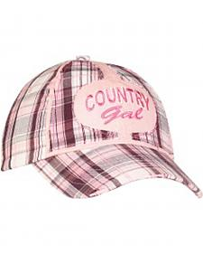 "Girls' ""Country Girl"" Plaid Embroidered Cap"