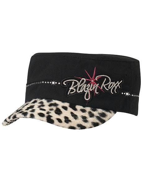 Blazin Roxx Girls' Leopard Print Military Cap