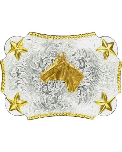 Nocona Kids Silver & Gold Horse Head Belt Buckle Western & Country 3603207